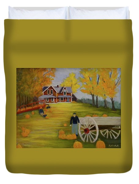 Fall Pumpkin Harvest Duvet Cover