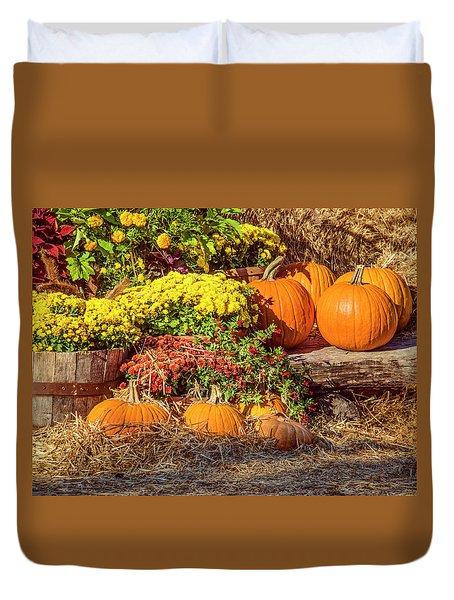 Fall Pumpkins Duvet Cover by Carolyn Marshall