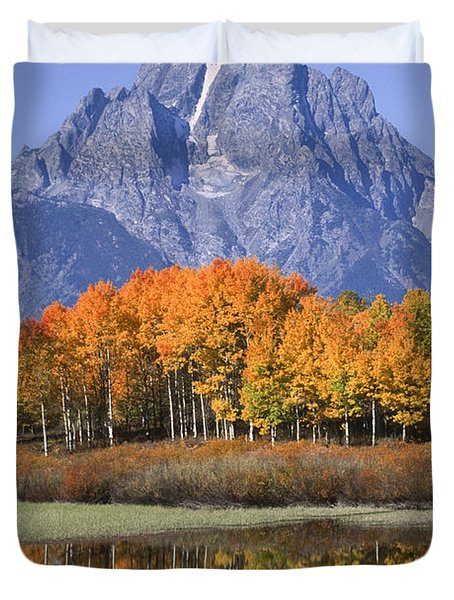 Fall Reflection At Oxbow Bend Duvet Cover by Sandra Bronstein