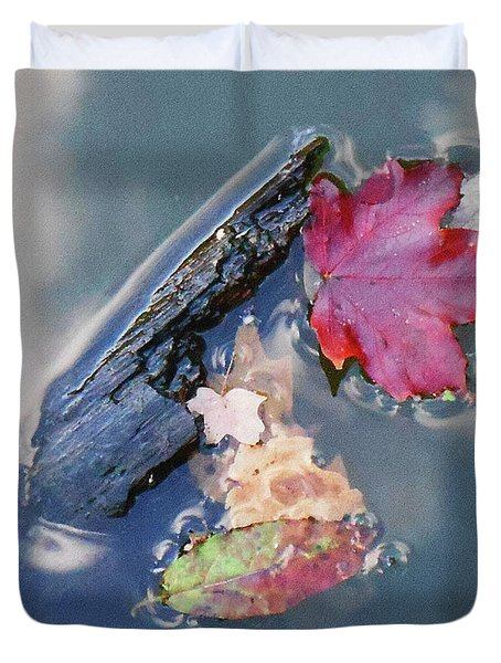 Fall Reflections Leaves In The Water Duvet Cover