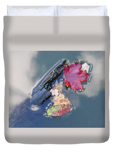 Duvet Cover featuring the photograph Fall Reflections Leaves In The Water by Irina Sztukowski