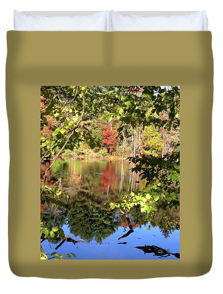 Fall Reflections Duvet Cover by Nancy Landry