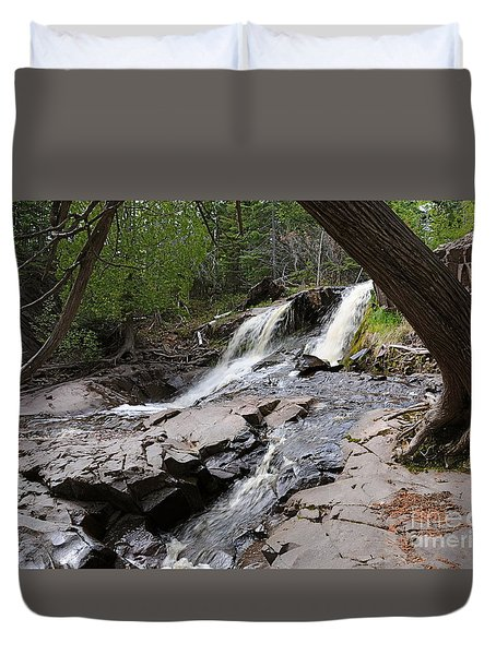Duvet Cover featuring the photograph Fall River View #2 by Sandra Updyke