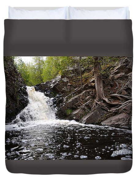 Duvet Cover featuring the photograph Fall River View by Sandra Updyke