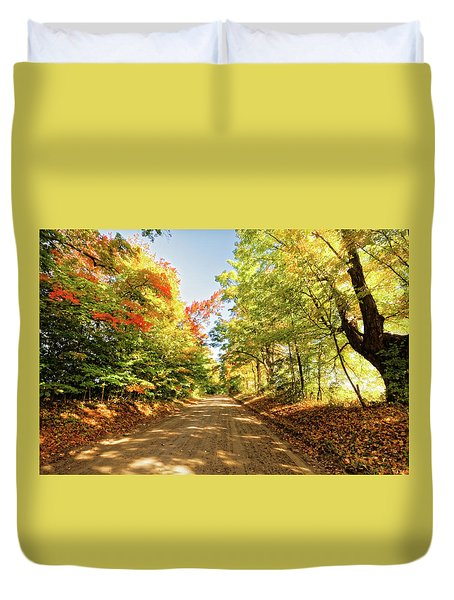 Duvet Cover featuring the photograph Fall Roads by Lars Lentz