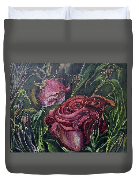 Fall Roses Duvet Cover by Nadine Dennis