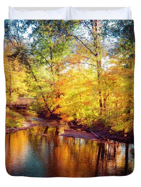 Fall Scene In Stillwater Duvet Cover