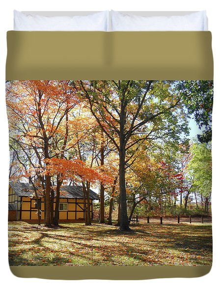Duvet Cover featuring the photograph Fall Shadows In The Park by Irina Sztukowski