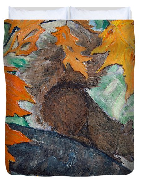 Fall Squirrel Duvet Cover
