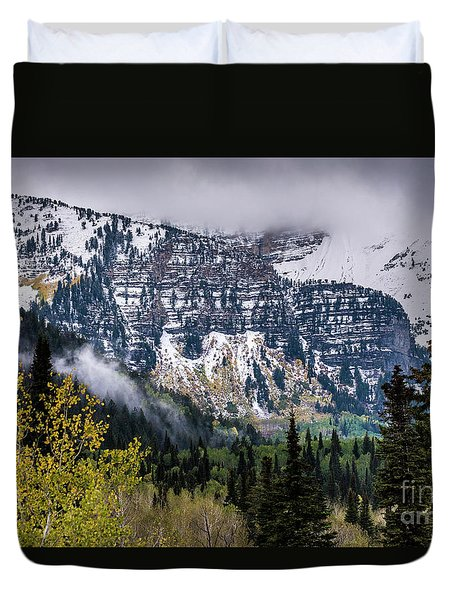 Duvet Cover featuring the photograph Fall Storm In Wasatch Mountains - Utah by Gary Whitton