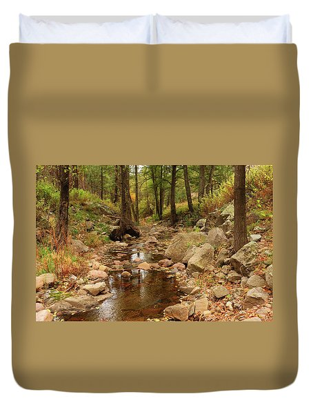 Fall Stream And Rocks Duvet Cover by Roena King
