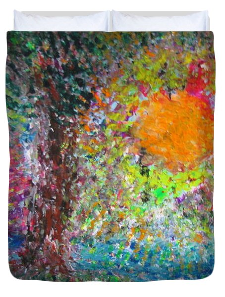 Duvet Cover featuring the painting Fall Sun by Jacqueline Athmann