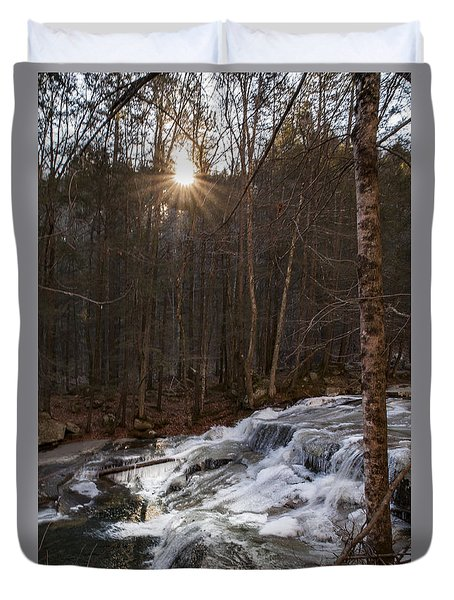 Fall Sunset On Stream Duvet Cover