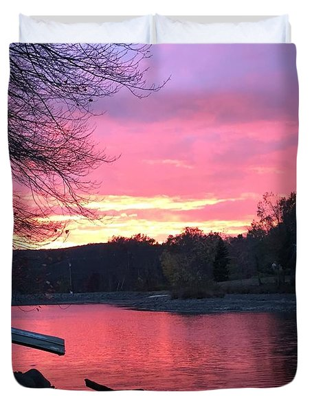 Fall Sunset On The Lake Duvet Cover