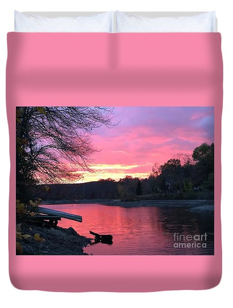 Fall Sunset On The Lake Duvet Cover by Jason Nicholas