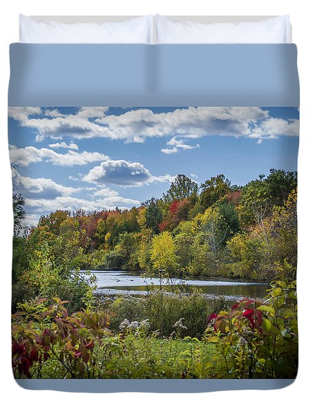 Fall Time On The Lake Duvet Cover