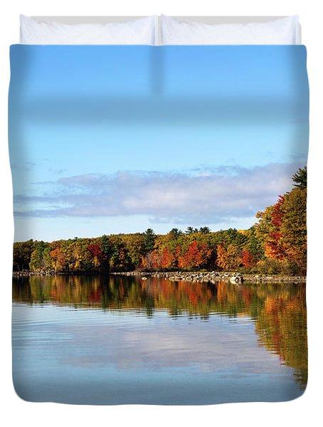 Fall Tree Reflections Lake Sabago Maine Duvet Cover