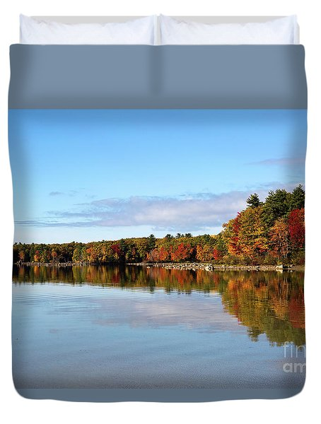 Fall Tree Reflections Lake Sabago Maine Duvet Cover