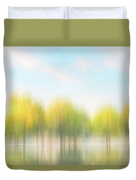 Fall Trees On Flooded Lake Duvet Cover