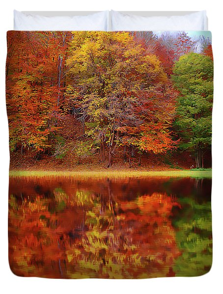 Duvet Cover featuring the painting Fall Waters by Harry Warrick