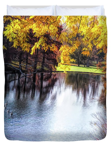 Fall Yellow Boarder Duvet Cover