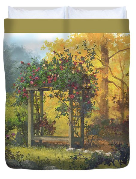 Duvet Cover featuring the painting Fall Yellow by Michael Humphries