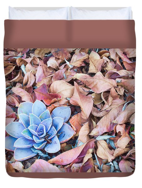 Duvet Cover featuring the photograph Fallen Autumn Leaves by Ram Vasudev