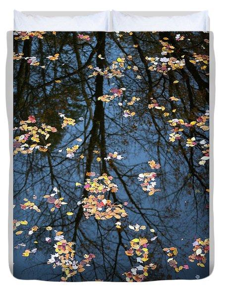 Fallen Leaves In Autumn Lake Duvet Cover