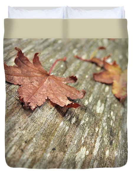 Duvet Cover featuring the photograph Fallen Leaves by Peggy Hughes