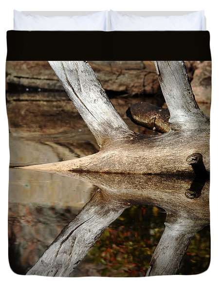 Duvet Cover featuring the photograph Fallen Tree Mirror Image by Debbie Oppermann