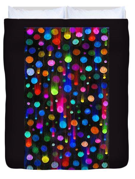 Falling Balls Of Color Duvet Cover by Carl Deaville