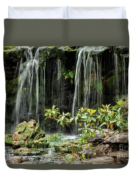 Falling Falls In The Garden Duvet Cover by Iris Greenwell