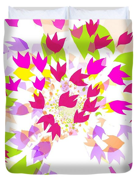 Duvet Cover featuring the digital art Falling Leaves by Barbara Moignard