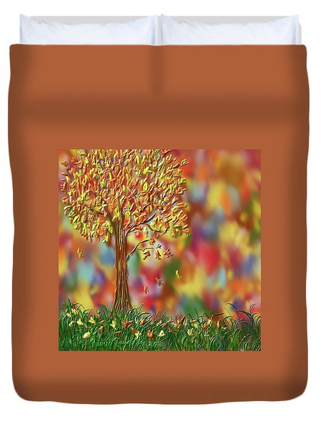 Duvet Cover featuring the painting Falling Leaves by Kevin Caudill