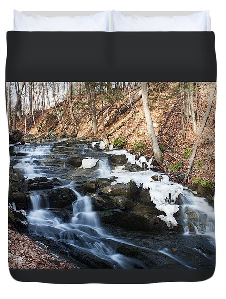 Falling Waters In February #1 Duvet Cover by Jeff Severson