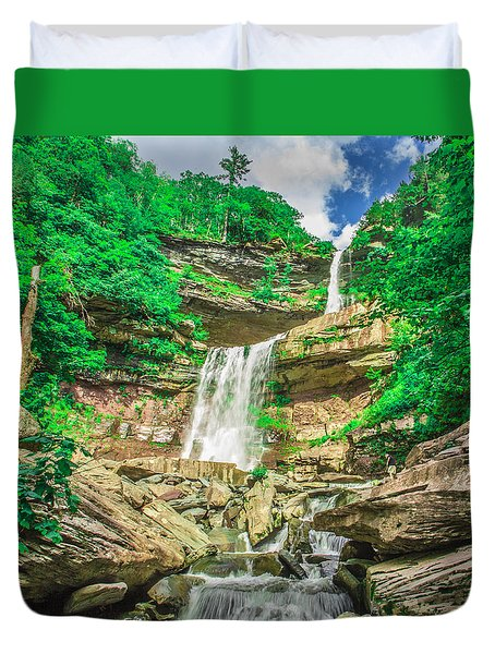 Duvet Cover featuring the photograph Falling Waters by Paula Porterfield-Izzo
