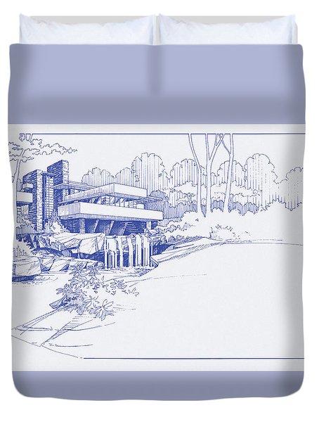 Fallingwater Blueprint Duvet Cover