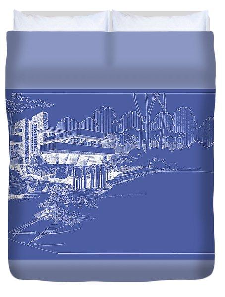 Fallingwater Blueprint Reverse Duvet Cover