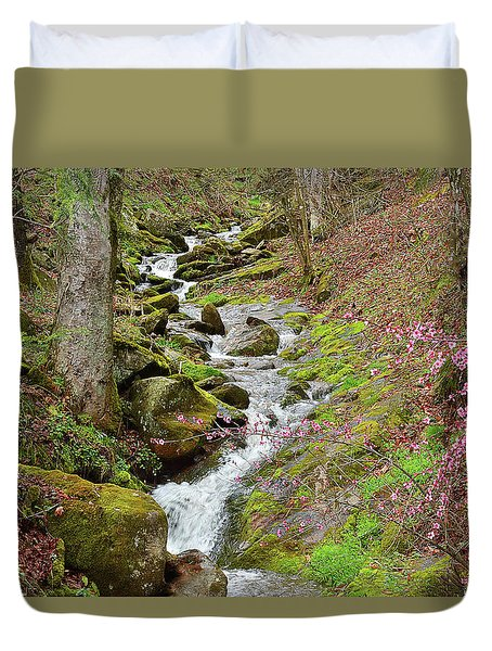 Falls Accented In Pink Duvet Cover