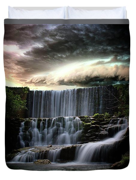 Falls At Mirror Lake Duvet Cover