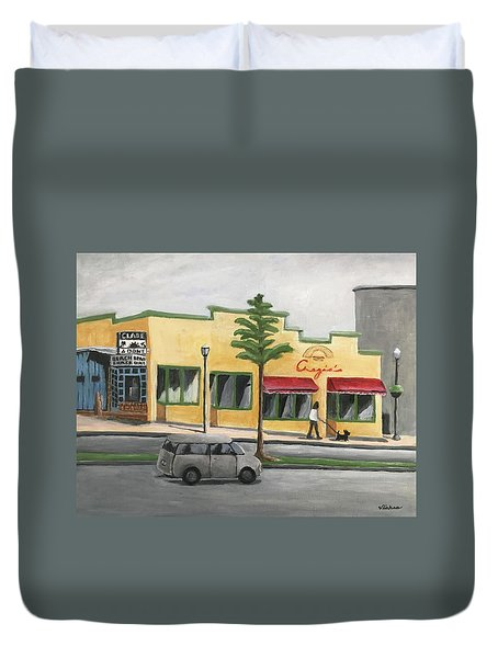 Duvet Cover featuring the painting Falls Church by Victoria Lakes