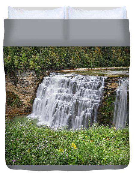 Autumn Flower Of Letchworth Middle Falls Duvet Cover