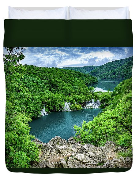 Falls From Above - Plitvice Lakes National Park, Croatia Duvet Cover