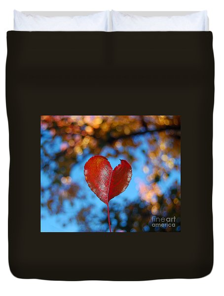 Duvet Cover featuring the photograph Fall's Heart by Debra Thompson