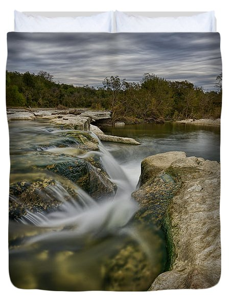 Texas Hill Country Falls Duvet Cover