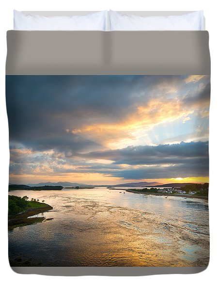 Falls Of Lora Duvet Cover by Ray Devlin