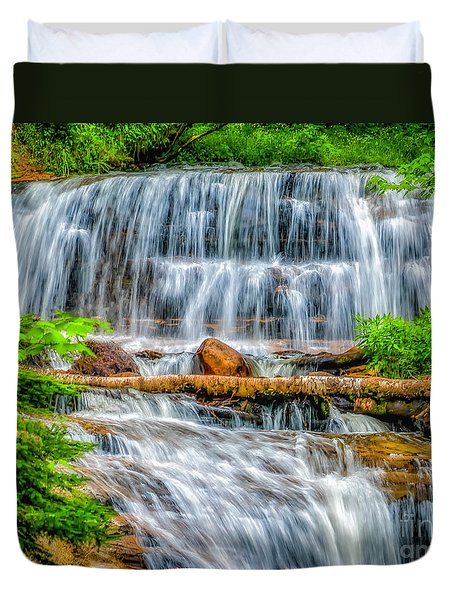 Duvet Cover featuring the photograph Falls On Sable Creek by Nick Zelinsky