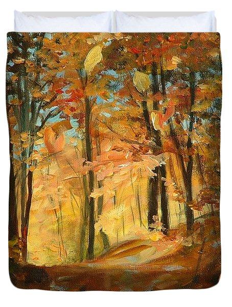 Fall's Radiance In Quebec Duvet Cover