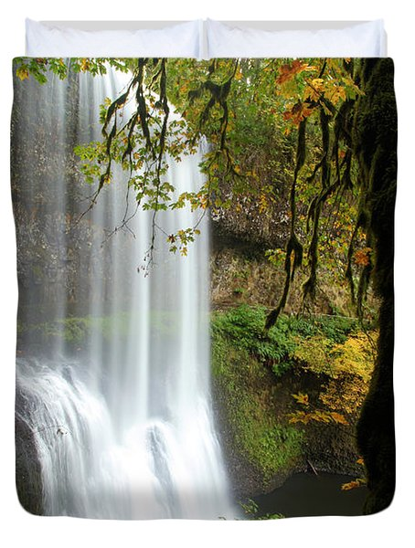 Falls Though The Trees Duvet Cover by Adam Jewell