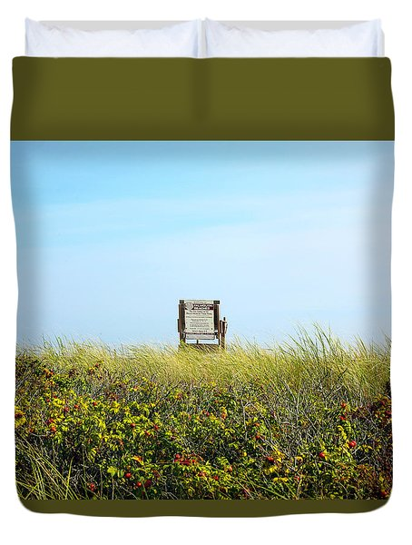 Duvet Cover featuring the photograph Falmouth Beach Open 9-5 by Madeline Ellis
